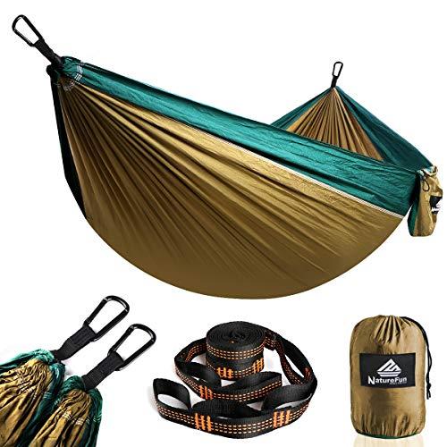 NatureFun Tragbare 300*140cm Ultra-Leichte 100% Fallschirm-Nylon Reise Camping Hängematte für Backpacker