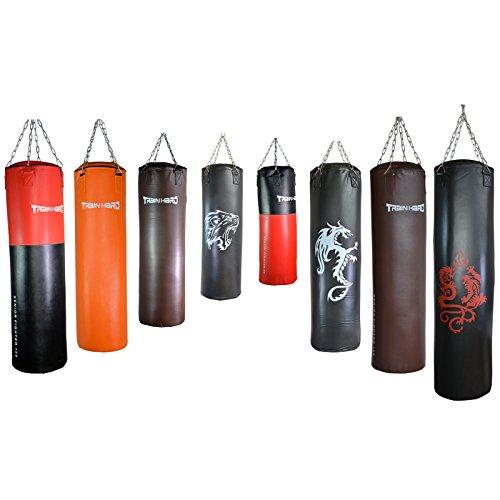 Profi Boxsack von TrainHard (Kunstleder, 100 x 33 cm, 30 kg, gefüllt, mit Stahlkette, dunkelbraun)