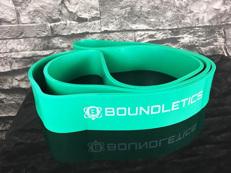 Fitnessband Test Boundletics grün 20 bis 55 kg Gesamtansicht ausgepackt