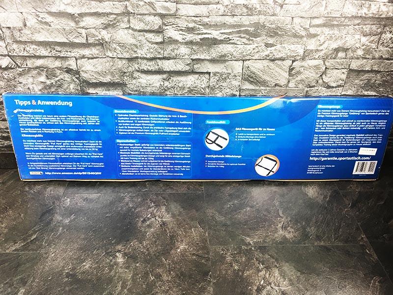 Türreck Test Premium Klimmzugstange Get Strong Sportastisch Verpackung Rückseite